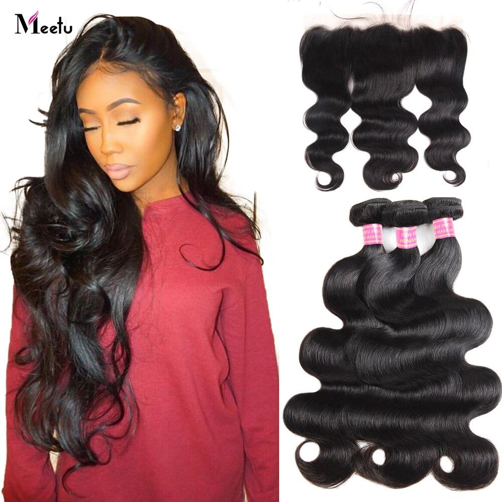 Meetu Indian Body Wave Bundles with  Frontal Pre-Plucked Hair Bundles with Closure 13x4 Frontal with Bundles Non-Remy Human Hair